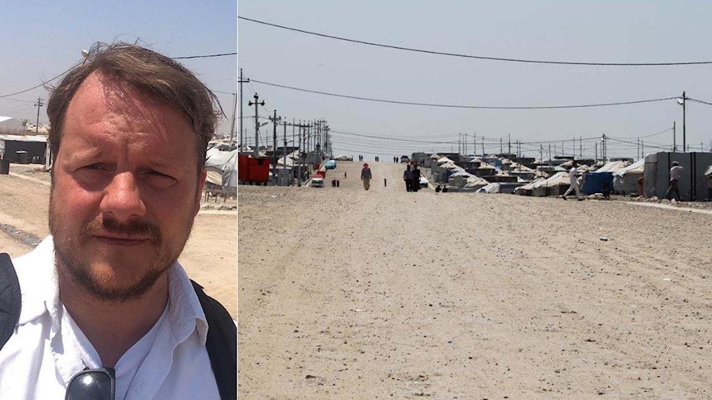 Ekots reporter Johan-Mathias Sommarström i flyktingläger i Irak. Foto: Sveriges Radio.