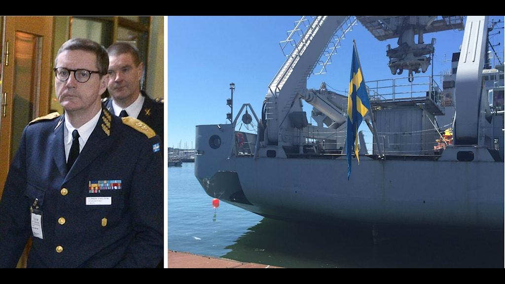 Gunnar Karlsson på Must hade pressträff på HMS Belos. Foto: Claudio Bresciani/TT, Adam Westin/SR