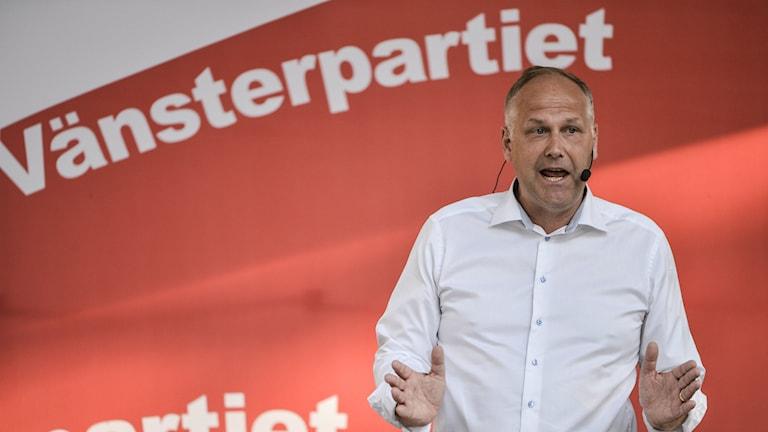 Jonas Sjöstedt talade i Almedalen. Foto: Henrik Montgomery/TT