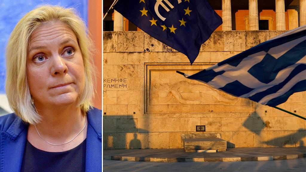 Magdalena Andersson kommenterar Greklands förslag. Foto: Marcus Ericsson, Petros Karadjias/TT