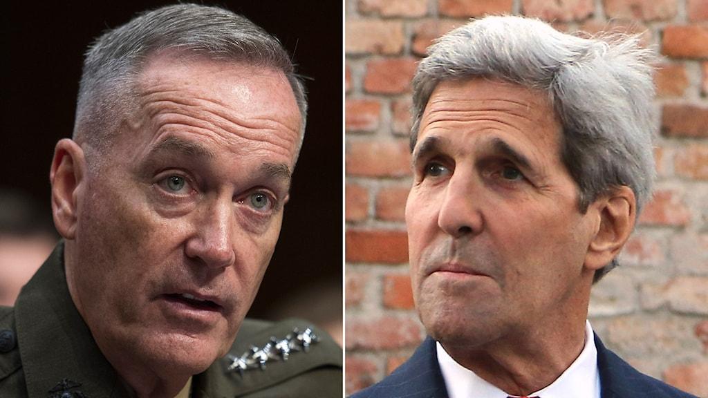 USA:s blivande försvarsstabschef Joseph Dunford och utrikesminister John Kerry. Foto: Cliff Owen/AP och Ronald Zak/AP