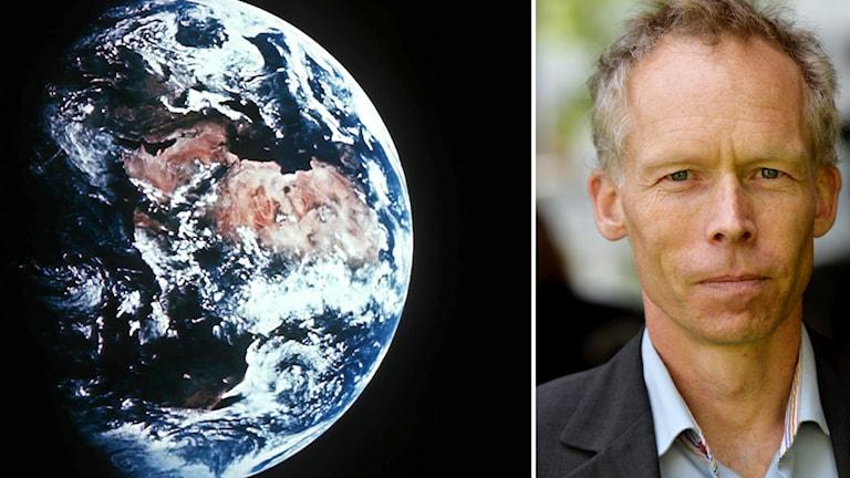 Jorden sedd utifrån och Johan Rockström.