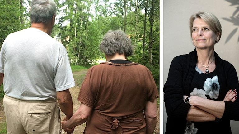 Äldre par och Åsa Regnér Foto: Andrea Jilder/Sveriges Radio samt Malin Hoelstad/TT.