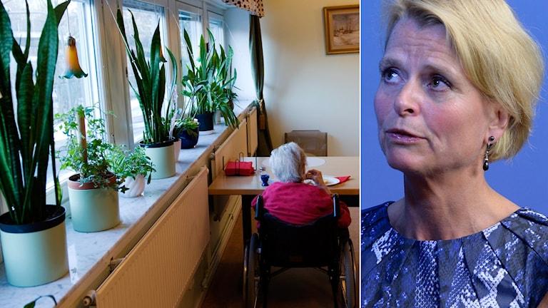 Många boende på äldreboenden får inte komma ut så ofta de vill. Äldreminister Åsa Regnér. Foto: Henrik Montgomery / Bertil Ericsson / TT