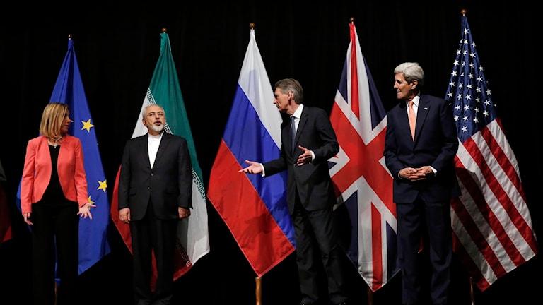 Ledare framför sina flaggor Foto: Carlos Barria/TT