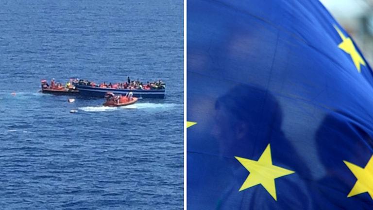 Flyktingbåt på Medelhavet. Foto: TT