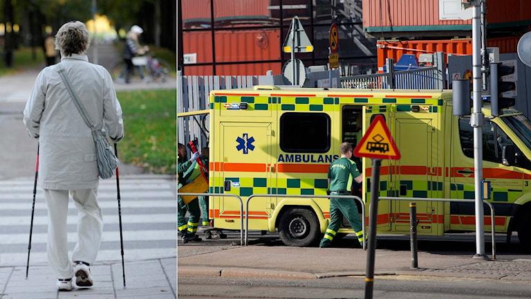En person¨med stavar går över vägen samt sjukvårdare som arbetar efter en olycka. Foto: Bertil Ericsson och Björn Larsson Rosvall / TT