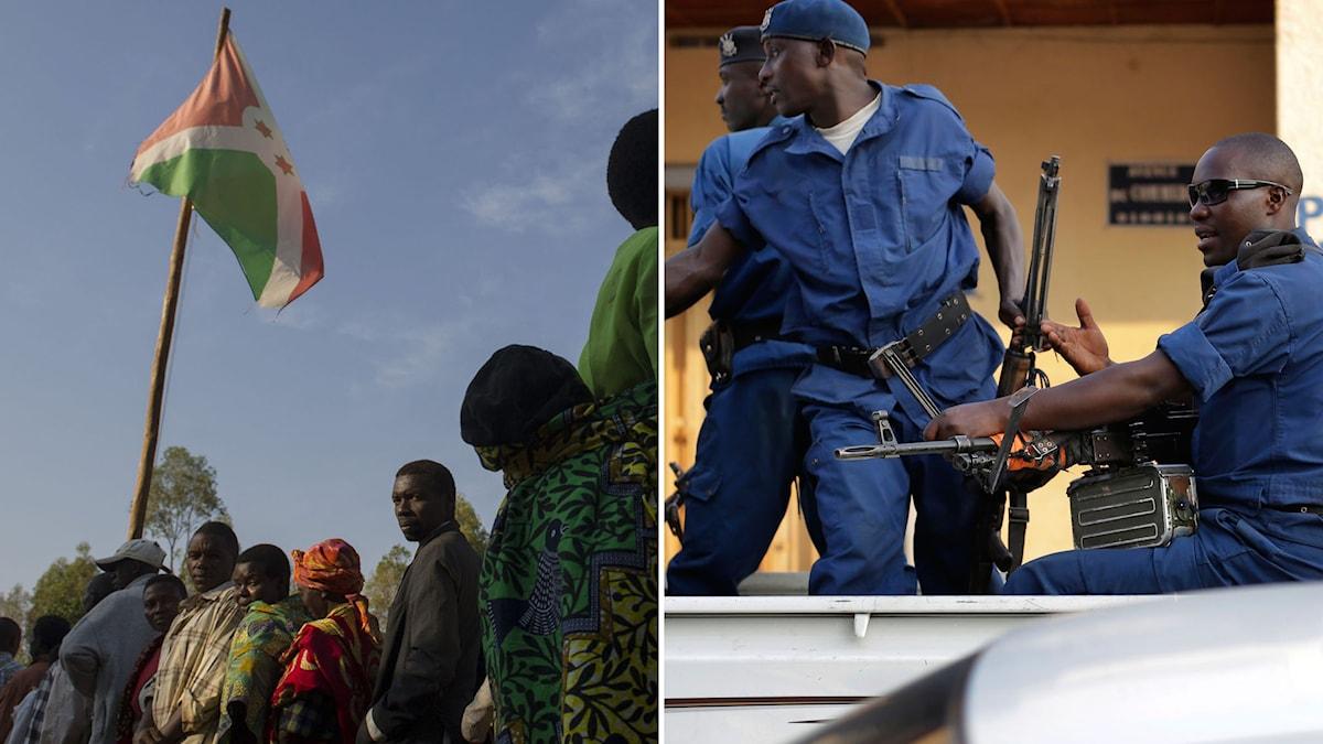 Protesterna mot president Pierre Nkurunziza har pågått i månader. Minst 100 människor har dödats och mer än 150 000 människor har flytt landet. Foto: Phil Moore/Jerome Delay/TT.