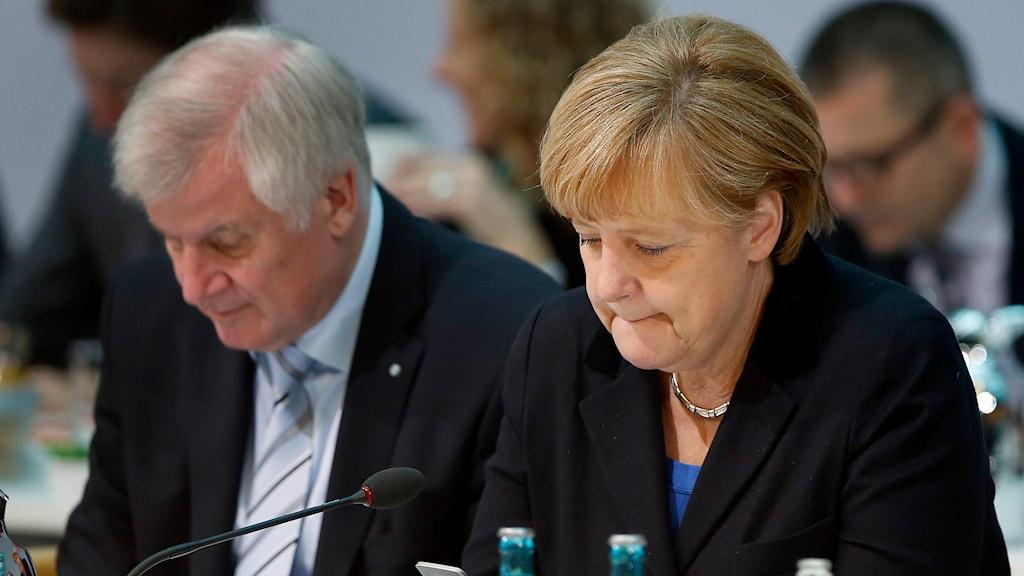Horst Seehofer och Angela Merkel Foto: Michael Sohn/TT