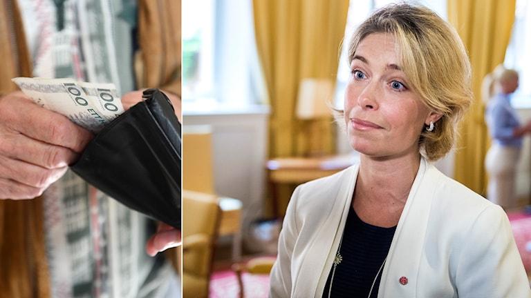 Plånbok och socialförsäkringsminister Annika Strandhäll (S) Foto: Fredrik Sandberg / Marcus Ericsson / TT