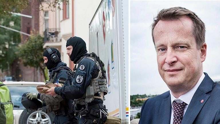 Nationella insatsstyrkan och inrikesminister Anders Ygeman.