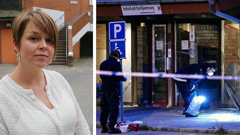 Bild på Katrin Stjernfeldt Jammeh och poliser vid brottsplats. Foto: Stig-Åke Jönsson/TT samt Johan Nilsson/TT