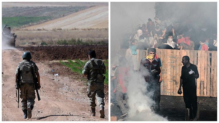 Turkiska soldater vid gränsen till Syrien och Foto: TT.