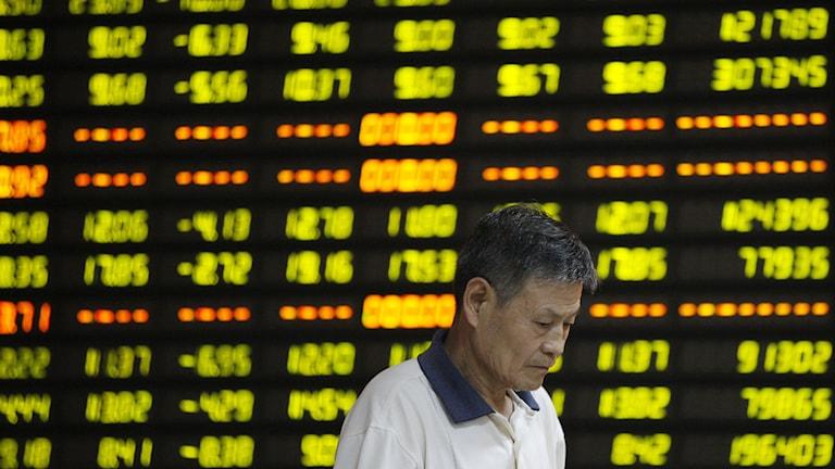 Shanghaibörsen föll i dag med åtta procent. Foto: Xie Zhengyi / TT