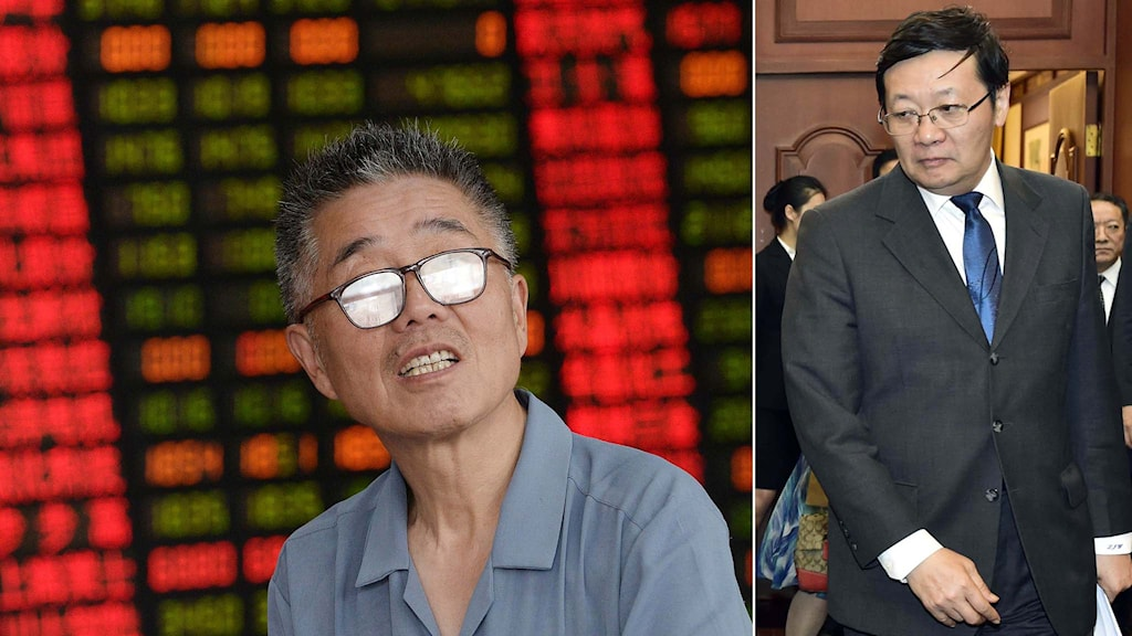 En kinesisk börshandlare samt Kinas finansminister Lou Jiwei. Foto: TT