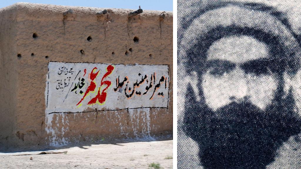 Grafitti med texten Omar är vår ledare och bild på mullah omar. Foto: Arshad Butt/TT samt TT