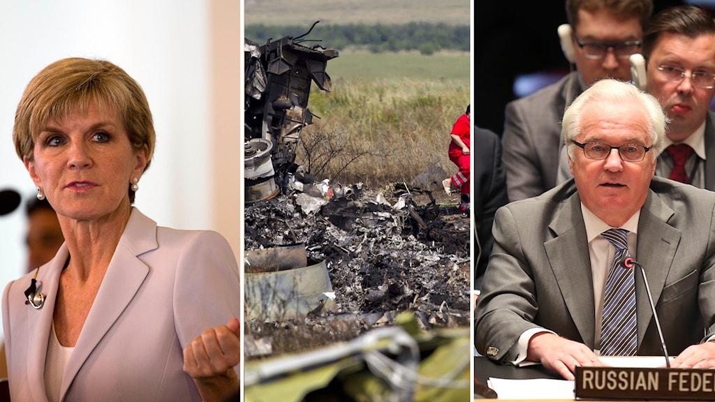 """Australiens Julie Bishop kritiserar Rysslands beslut att lägga veto mot att utreda MH17. Rysslands FN-ambassadör Vitaly Churkin anser inte att det behövs en domstol då var händelsen inte var """"ett hot mot internationell säkerhet"""""""