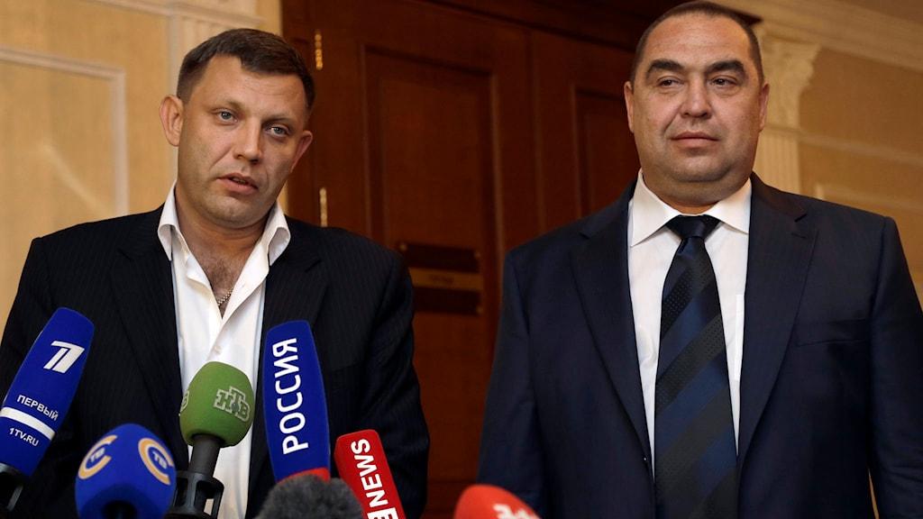 Ledarna för separatisterna i Donetsk och Luhansk.Foto: Sergei Grits/TT.