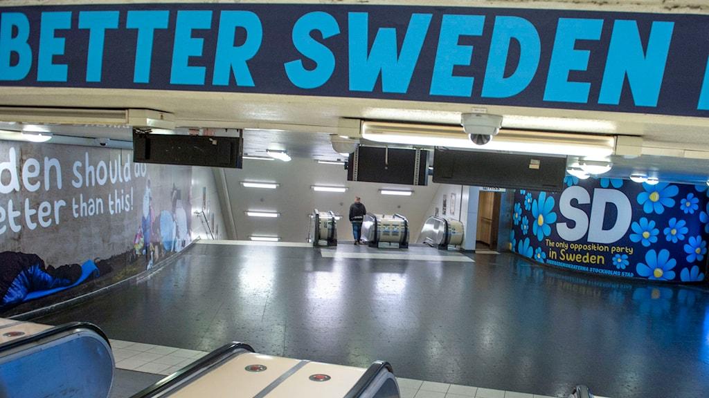 Sverigedemokraterna har lanserat en ny kampanj mot tiggeri. Foto: Bertil Ericsson/ TT
