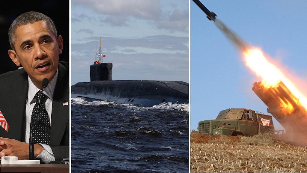 Obama Rysk atomutbåt och nordkoreanskt rakettest. Foto: TT