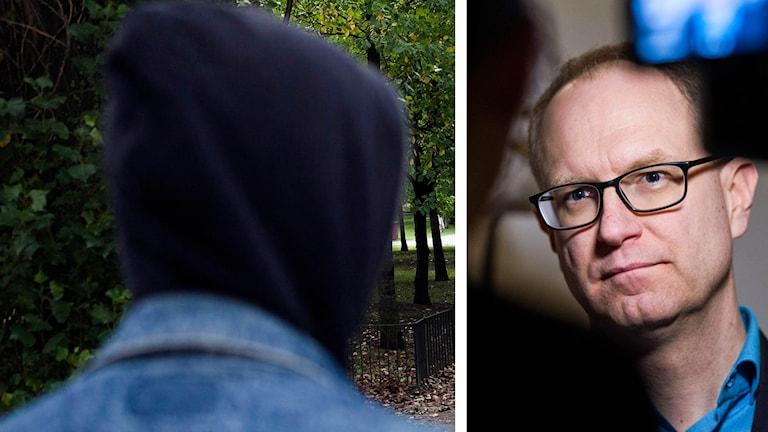 Person i huva och bild på Fredrik Malmberg Foto: Foto: Robin Haldert/TT samt Bertil Enevåg Ericson/TT.