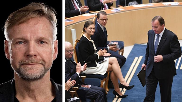 Man och personer i Sveriges riksdag.