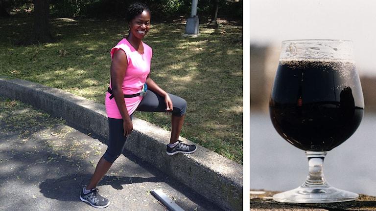 Kvinna som tränar och glas med coca cola. Foto: Jonna Burén/Sveriges Radio samt Rickard Collsiöö/TT