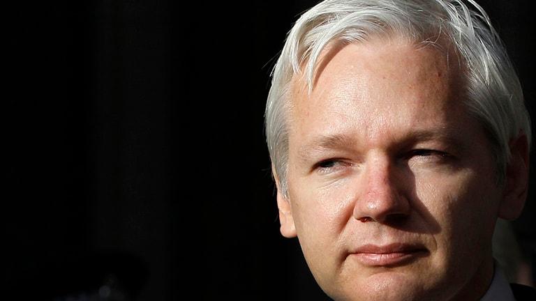 Julian Assanges ansikte mot svart bakgrund