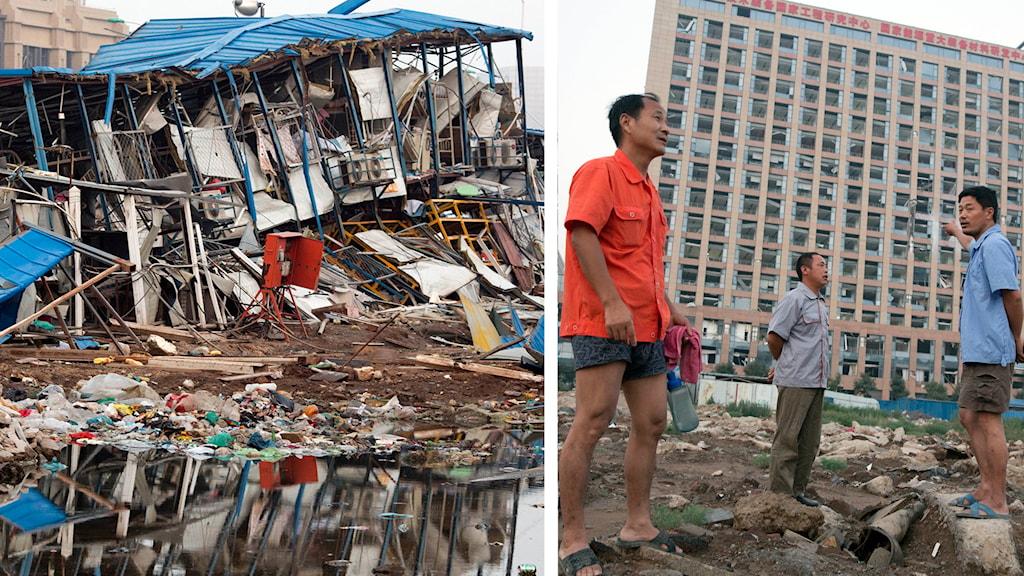 Bråte efter explosion och människor. Foto: Ng Han Guan/TT