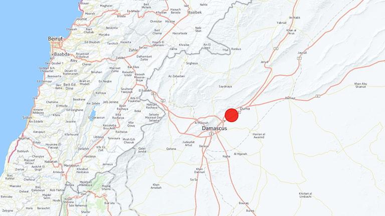 Duma i Syrien utmarkerat på en karta
