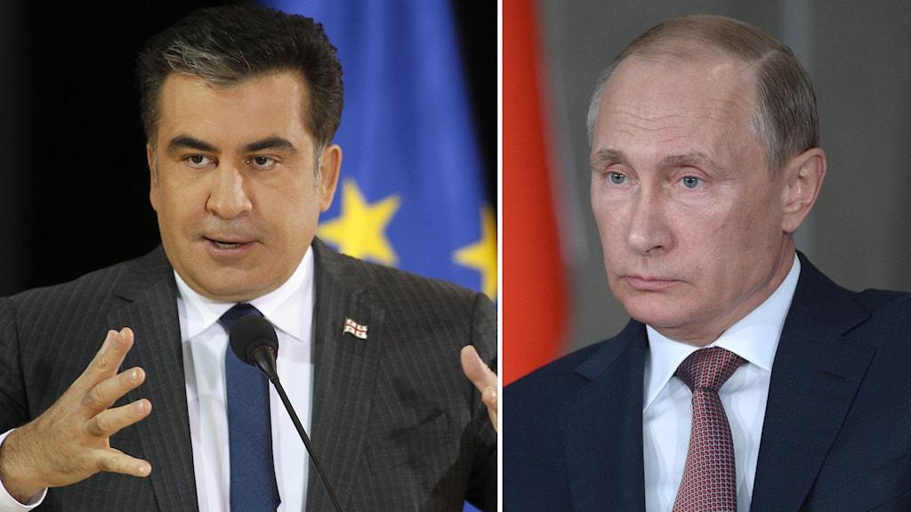 Micheil Saakasjvili och Vladimir Putin. Foto: TT.
