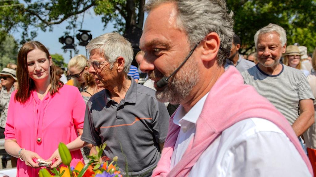 Folkpartiets ledare Jan Björklund och partikollegor. Foto: Henrik Montgomery/TT.