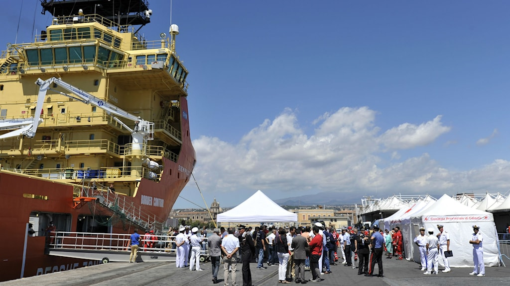 Norska fartyget Siem Pilot i hamnen i Catania den 17 augusti, efter en räddningsinsats. Foto: Carmelo Imbesi/TT