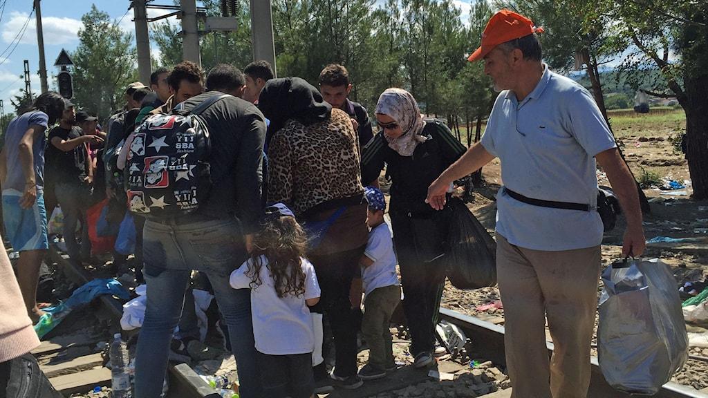 Flyktingar i Makedonien. Foto: Johanna Melén/Sveriges Radio