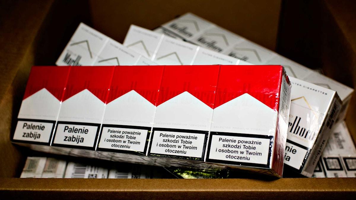 Smuggelcigaretter beslagtagna i Norge. Foto: Anette Karlsen/NTB/TT.