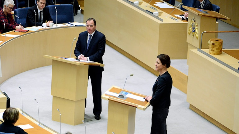 Partiledarna Stefan Löfven (S) and Anna Kinberg Batra. Foto: Claudio Bresciani /TT.