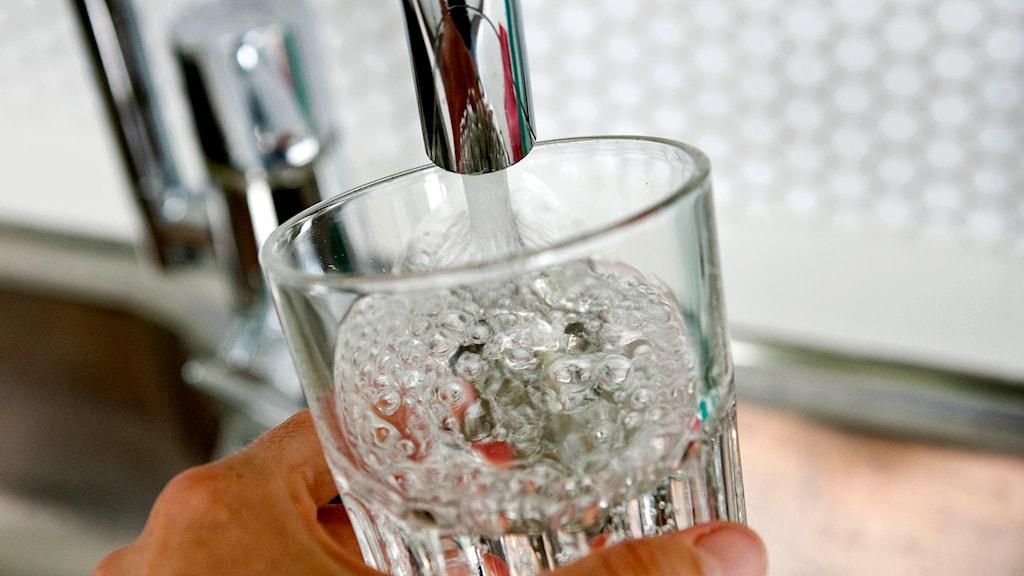 Person häller upp vatten i ett glas. Foto Christine Olsson.