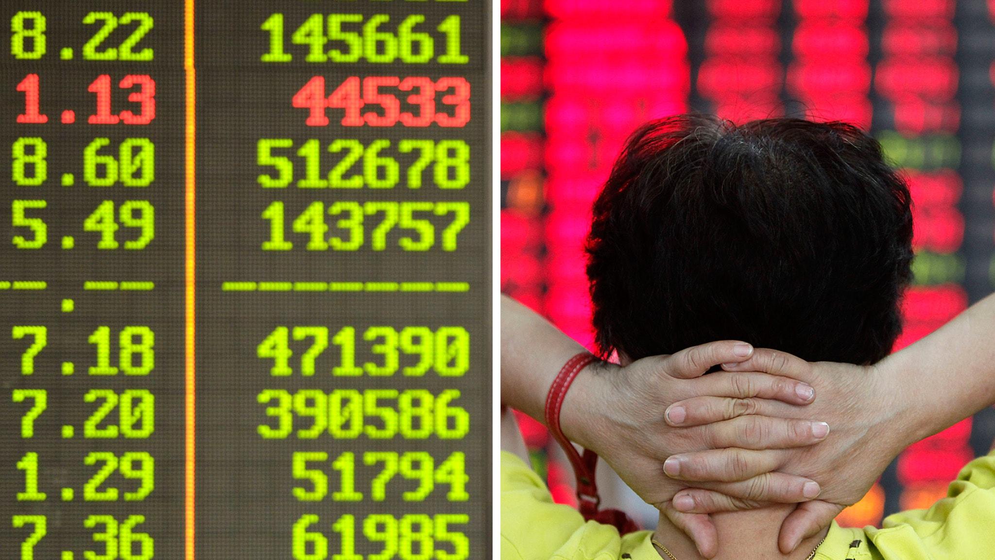 Börsen rasar i Asien. Foto: Eugene Hoshiko/TT