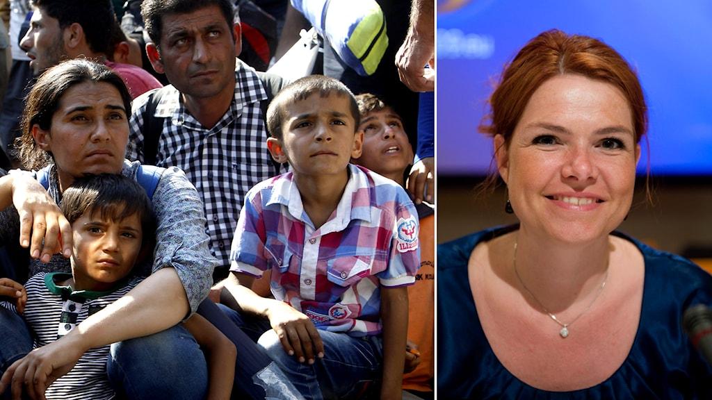 Asylskökande. Danmarks intergratiosnminister Inger Stöjberg. Foto: Boris Grdanoski/Maja Suslin/TT.