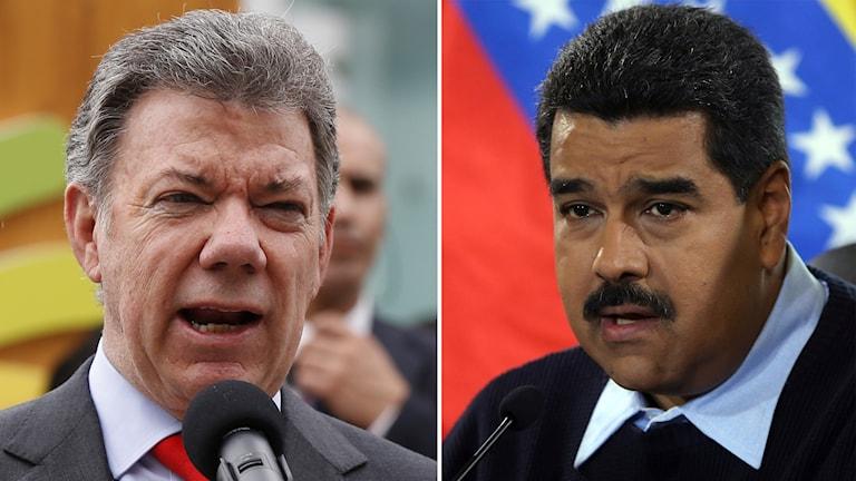 Colombias president Juan Manuel Santos och Venezuelas dito Nicolas Maduro Foto: Fernando Llano och Luca Bruno/AP
