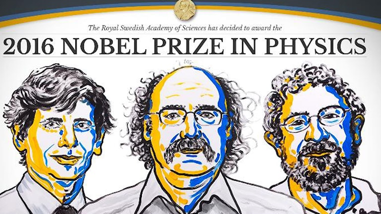 Nobelpristagarna David Thouless samt Duncan Haldane och Michael Kostelitz