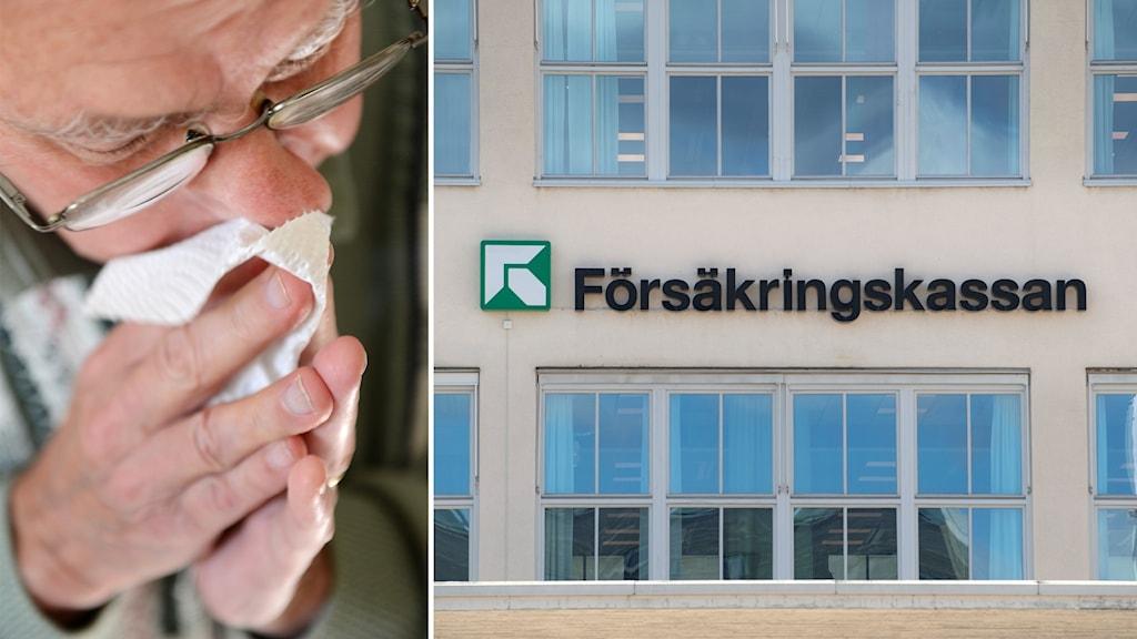 Kollage: En man som snyter sig och Försäkringskassans logotyp.