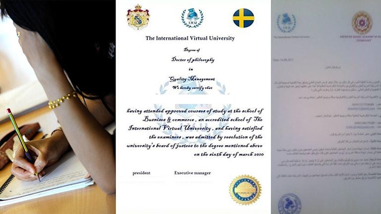 Så här kan examensbevisen från IVU se u. Foto: IVU facebooksida.