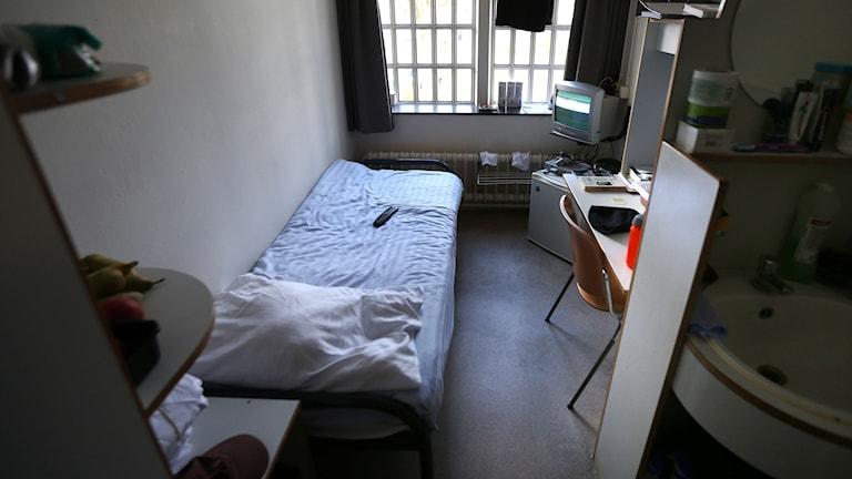 Fängelsecell i Norgerhavenfängelset i Veenhuizen i Nederländerna. Foto: AFP/TT.