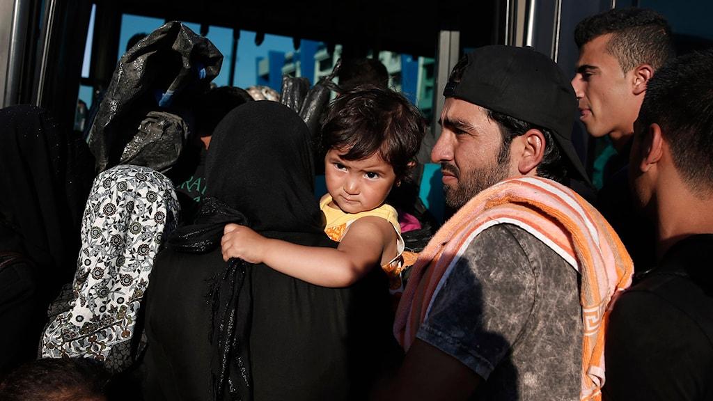 En flyktingfamilj. Foto: Petros Giannakouris/TT.