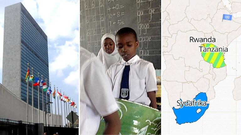 FN-högkvarteret i New York. Barn framför skoltavla. Karta med FN-flagga och flera länder utmärkta. Foto: TT/Sveriges Radio.
