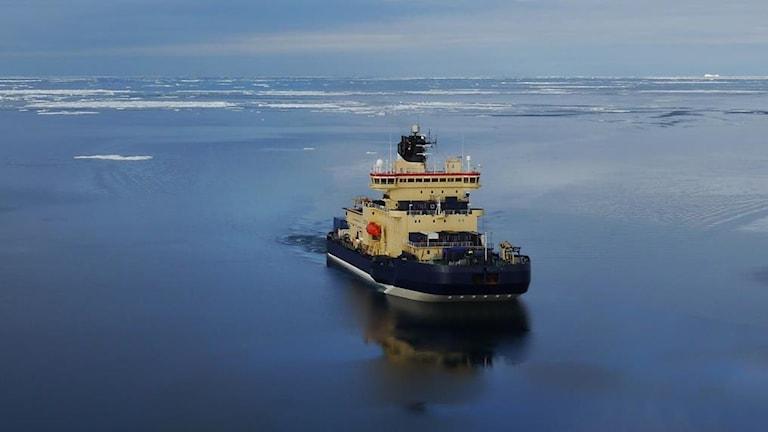 Isbrytaren Oden har varit forskarnas tillhåll under Pertermann-expeditionen. Foto: Sjöfartsverket.