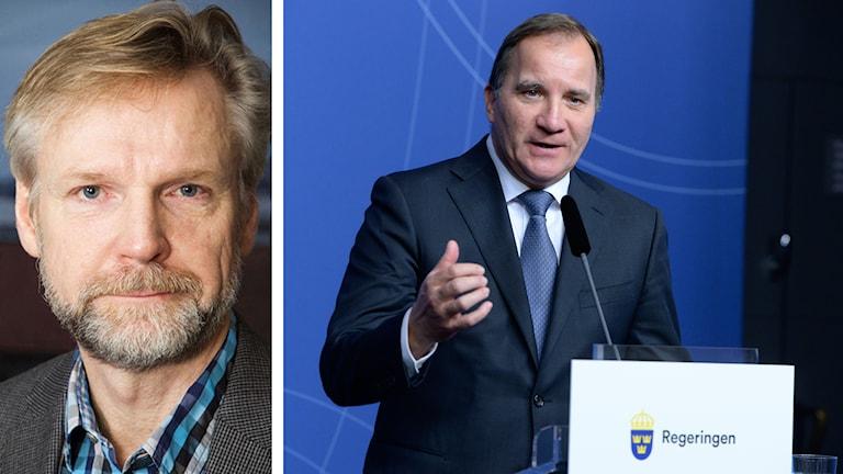 Tomas Ramberg om Stefan Löfvens pressträff inför mötet med Angela Merkel. Foto: Pablo Dalence/Sveriges Radio samt Bertil Ericson/TT.