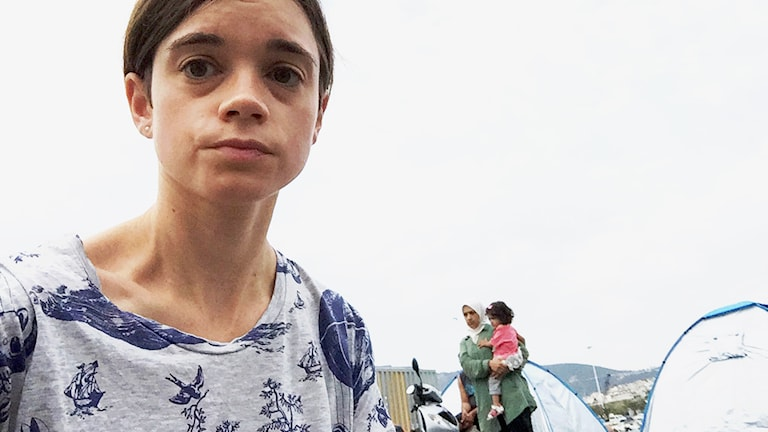 Ekots Johanna Melén på plats på Lesbos. Foto: Johanna Melén/Sveriges Radio