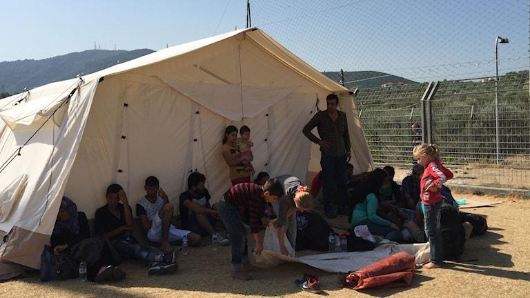 I skuggan från ett av tälten inne på fotbollsstadion där registreringen pågår.Flykting. Foto: Johanna Melén/Sveriges Radio.